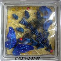 Стеклоблок Vitrablok декоративный бесцветный с наполнением внутри бабочки рт_017 г