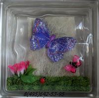 Стеклоблок Vitrablok декоративный бесцветный с наполнением внутри бабочки рт_018 г