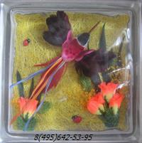 Стеклоблок Vitrablok декоративный бесцветный с наполнением внутри птица рт_012 г