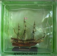Стеклоблок Vitrablok декоративный цветной зеленый с наполнением внутри корабль мт_002 г