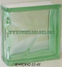 Стеклоблок Vitrablok окрашенный в массе торцевой волна зеленый