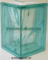 Стеклоблок Vitrablok окрашенный в массе угловой 90° волна бирюзовый