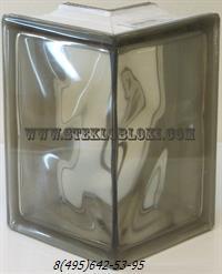 Стеклоблок Vitrablok окрашенный в массе угловой 90° волна бронзовый