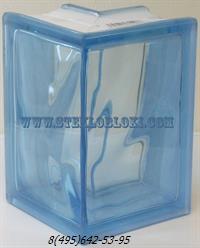 Стеклоблок Vitrablok окрашенный в массе угловой 90° волна голубой