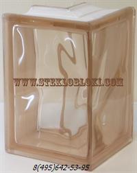 Стеклоблок Vitrablok окрашенный в массе угловой 90° волна розовый