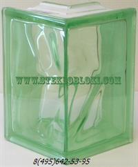 Стеклоблок Vitrablok окрашенный в массе угловой 90° волна зеленый
