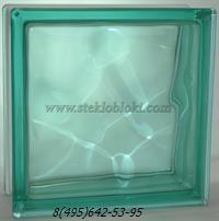 Стеклоблок Vitrablok окрашенный в массе волна бирюзовый