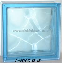 Стеклоблок Vitrablok окрашенный в массе волна голубой