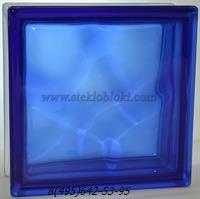 Стеклоблок Vitrablok окрашенный в массе волна синий