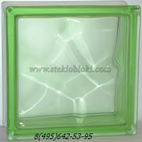 Стеклоблок Vitrablok окрашенный в массе волна зеленый