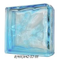 Стеклоблок Vitrablok окрашенный в массе завершающий волна голубой