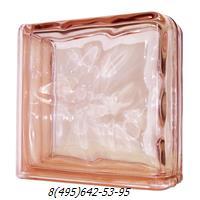 Стеклоблок Vitrablok окрашенный в массе завершающий волна розовый
