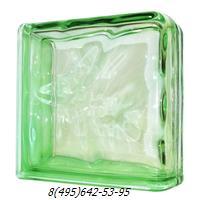Стеклоблок Vitrablok окрашенный в массе завершающий волна зеленый