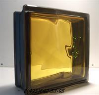 Стеклоблок Vitrablok окрашенный внутри черный бриллиант медовый