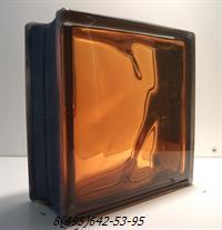 Стеклоблок Vitrablok окрашенный внутри черный бриллиант оранжевый