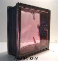 Стеклоблок Vitrablok окрашенный внутри черный бриллиант розовый