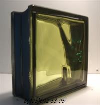 Стеклоблок Vitrablok окрашенный внутри черный бриллиант желтый
