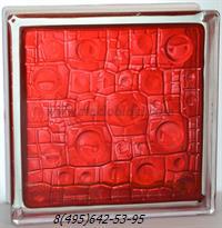 Стеклоблок Vitrablok окрашенный внутри губка рубиновый