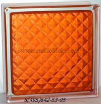 Стеклоблок Vitrablok окрашенный внутри инка оранжевый