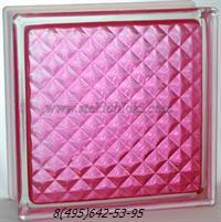 Стеклоблок Vitrablok окрашенный внутри инка розовый