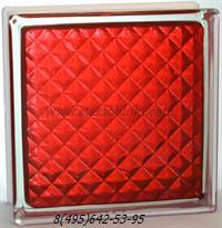 Стеклоблок Vitrablok окрашенный внутри инка рубиновый