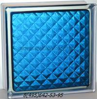 Стеклоблок Vitrablok окрашенный внутри инка синий