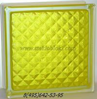 Стеклоблок Vitrablok окрашенный внутри инка желтый
