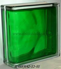 Стеклоблок Vitrablok окрашенный внутри торцевой волна изумрудный
