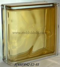 Стеклоблок Vitrablok окрашенный внутри торцевой волна коричневый