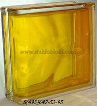 Стеклоблок Vitrablok окрашенный внутри торцевой волна медовый
