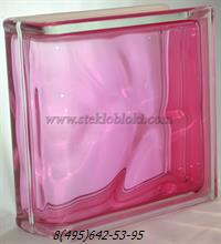 Стеклоблок Vitrablok окрашенный внутри торцевой волна розовый