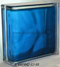 Стеклоблок Vitrablok окрашенный внутри торцевой волна синий