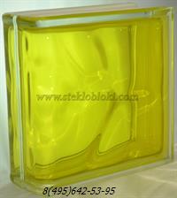 Стеклоблок Vitrablok окрашенный внутри торцевой волна желтый