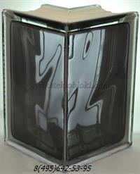 Стеклоблок Vitrablok окрашенный внутри угловой 90° волна черный