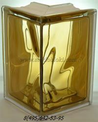 Стеклоблок Vitrablok окрашенный внутри угловой 90° волна коричневый