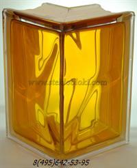 Стеклоблок Vitrablok окрашенный внутри угловой 90° волна медовый