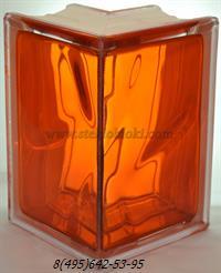 Стеклоблок Vitrablok окрашенный внутри угловой 90° волна оранжевый