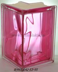 Стеклоблок Vitrablok окрашенный внутри угловой 90° волна розовый