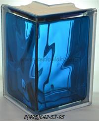 Стеклоблок Vitrablok окрашенный внутри угловой 90° волна синий