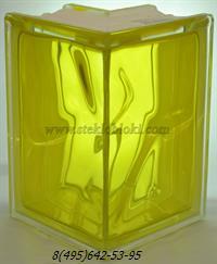 Стеклоблок Vitrablok окрашенный внутри угловой 90° волна желтый
