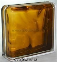 Стеклоблок Vitrablok окрашенный внутри завершающий волна бронзовый