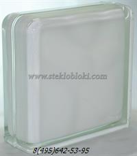 Стеклоблок Vitrablok окрашенный внутри завершающий волна молочный