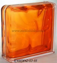 Стеклоблок Vitrablok окрашенный внутри завершающий волна оранжевый
