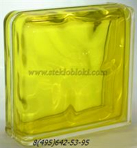 Стеклоблок Vitrablok окрашенный внутри завершающий волна желтый