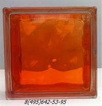 Стеклоблок StarGlass окрашенный внутри волна оранжевый