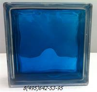 Стеклоблок StarGlass окрашенный внутри волна синий