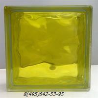 Стеклоблок StarGlass окрашенный внутри волна желтый