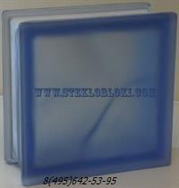 Стеклоблок Vetroarredo волна окрашенный в массе blu q19/0 sat полуматовый