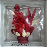 Стеклоблок Vitrablok декоративный бесцветный с наполнением внутри растения рт_001 к