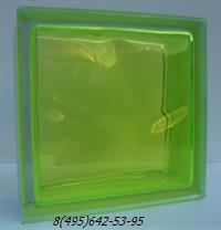 Стеклоблок Vitrablok окрашенный внутри флуоресцентный лайм